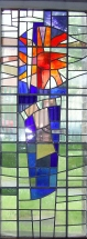 Stained glass window depicting St Alban